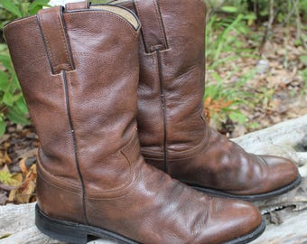 Vintage Justin Boots Brown Leather Mens 7.5