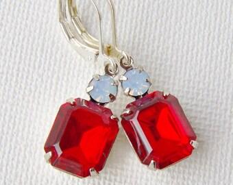 Ruby rhinstone leverback earrings / opal rhinestone / July birthstone / gift for her / red and white earrings / Swarovski / unique gift