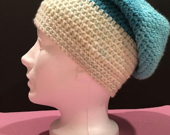 Blue and Cream Slouchy Hat