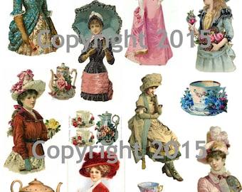 Printable Victorian Ladies Tea, Collage Sheet  Instant Digital Download, Victorian Women, Tea and Flowers, Scrapbook Embellishments