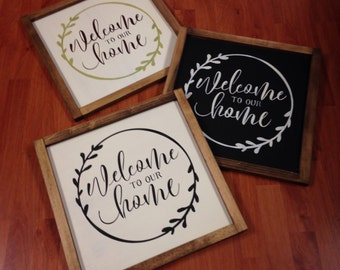 Hand Painted Wood Sign | Welcome to our home | welcome sign