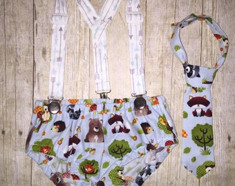Boys Cake Smash Outfit - Woodland Animals and Arrows - Diaper Cover, Tie & Birthday Hat - First Birthday Set - Boys First Birthday