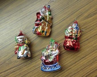 Lot of 4 Plastic Christmas Ornaments Santa's Sack Sleigh Santa and Snowman