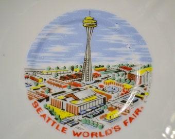 Vintage Decorative Plate Saucer Seattle Worlds Fair Washington State Travel Souvenir Kitsch Decor Panchosporch