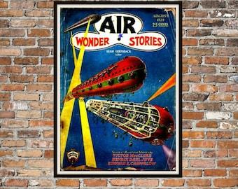 SciFi Print, Art of Vintage Science Fiction Magazine Cover, Air Wonder Stories, Print Art Item # 0148
