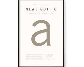 """News Gothic Poster, Screen Printed, Archival Quality, Wall Art, Poster, Designer Gift, Typography Print, 24"""" x 36"""""""