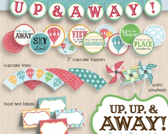 HOT AIR BALLOON Baby Shower Printable Package in Vintage Rainbow- Editable Instant Download