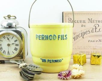 Seau à glace Pernod - absinthe - seau à glaçons - vintage - seau à glace français - jaune - Pernod - ancien seau publicitaire - pernod fils