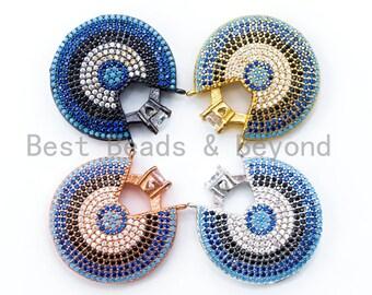 CZ Micro Pave Turquoise Diamond Crown on Round Disc Pendant, 27mm, sku#L5