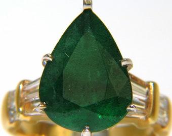 6.50CT Natural Emerald Diamond Ring 14KT
