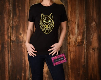 Customisable Geometric Wolf T-Shirt - Metallic/Glitter/Hotflex Vinyl Design