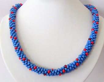 Kumihimo necklace in blue and red