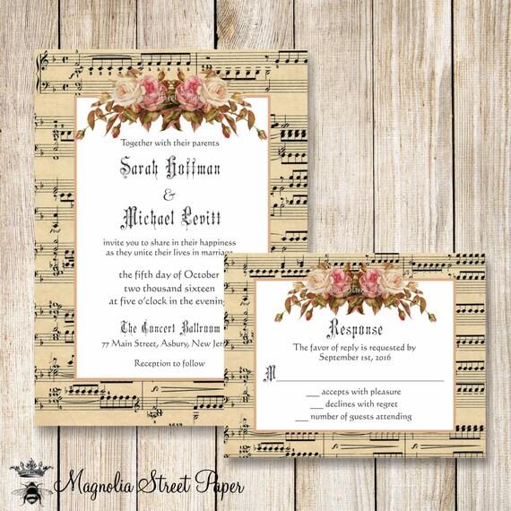 Music Wedding Invitation Music Sheet Wedding Invite