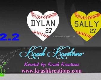 Baseball or Softball Heart shaped Window Decal 2.2