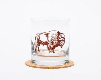 Bison Rocks Glass - Highball Glass - Bison - Tumbler - Whiskey Glass - Buffalo