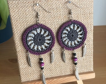 The Dream Catcher Earrings, Dream Catcher Crochet Earrings, Crochet Earrings