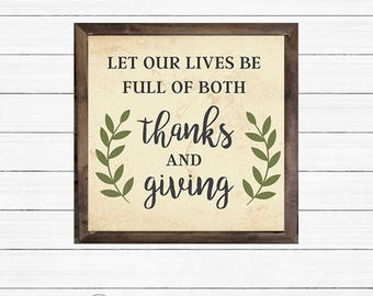 Thanks & Giving DIY Art - PRINTABLE - Instant Download