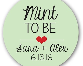 """1"""" or 1.25"""" in Glossy Round Sticker Label Tags - Custom Wedding Favor & Gift Stickers - Mint to Be"""