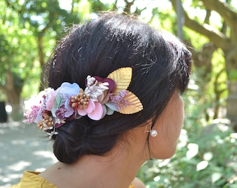 Floral semi crown in gold, pink, white, and green