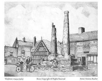 Original Print of 1899 Sandbach in graphite pencil