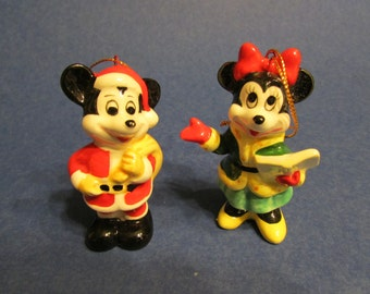 Christmas Ornament Mickey Mouse and Minnie Mouse Disney Ornament Made in Japan Bone China Mickey Mouse Santa Claus and Mrs. Claus Ornaments