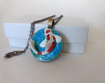 Koi charm necklace, jewlery, polymer clay, koi pond, fish, mini, miniature sculpture