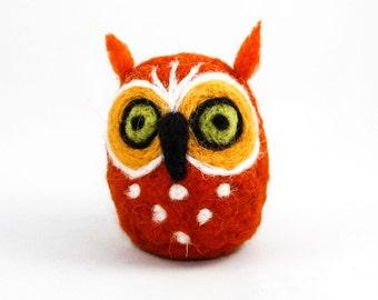 Needle Felted Owl (Orange)