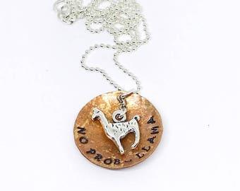 No Prob-Llama necklace llama jewelry gift for a llama lover llama necklace
