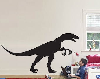 """Wall Decal Sticker Removable RAPTOR Dinosaur 46"""" Tall 98 """"wide in White or Black"""