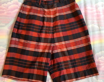 Vintage Red Blue and White Plaid Bermuda Shorts With Pockets 1960s