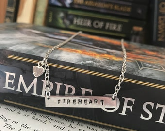 Fireheart Necklace, Celaena Sardothien Necklace, Throne of Glass Necklace, Metal Stamped Necklace, Bookish Necklace, Book Lover, Bookworm,