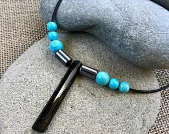 Black Tourmaline Necklace, EMF Necklace, Black Tourmaline Blade, Natural Hematite, Turquoise Beads, Tourmaline Pendant, Tourmaline Blade