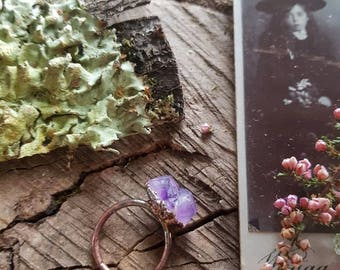 Double Point Amethyst Crystal and Raw Copper Ring