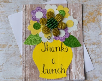 "Thank You Greeting Card, ""Thanks A Bunch"" Card, Handmade Thank You Card."