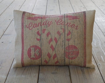 Candy Cane Sign Burlap Pillow, Farmhouse Christmas, Rustic Holiday,  Christmas 69, INSERT INCLUDED