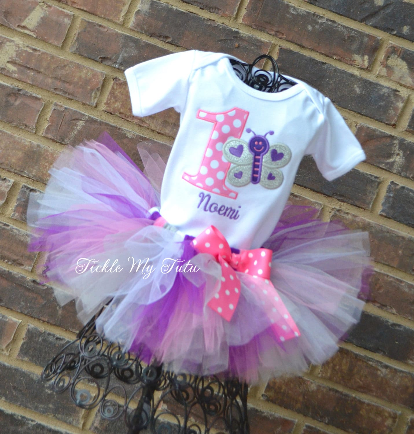 Butterfly Themed Birthday Tutu Outfit-Pink Purple Silver