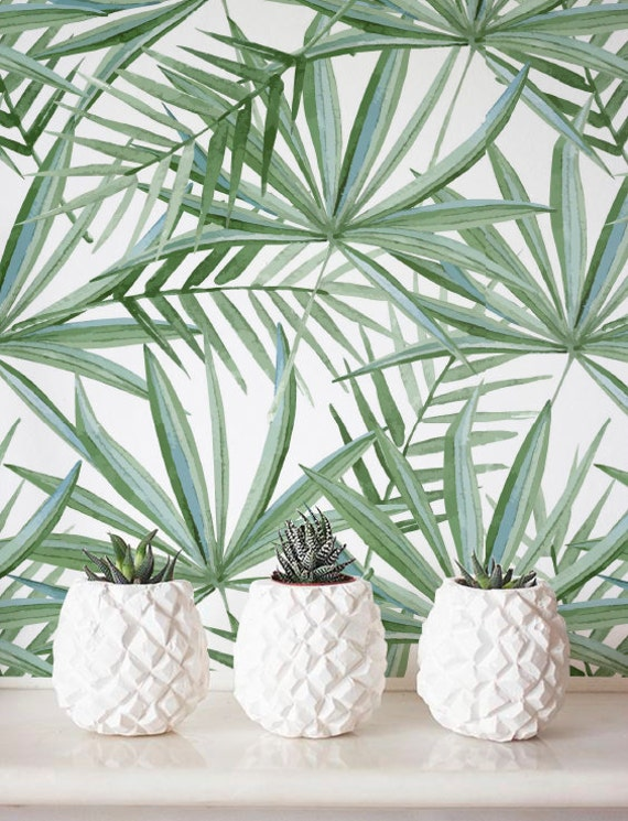 Watercolor Palm Leaf Pattern Wallpaper Removable