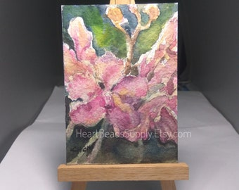 Orchids Flower Original ACEO Watercolor Painting, peinture, flora id180320
