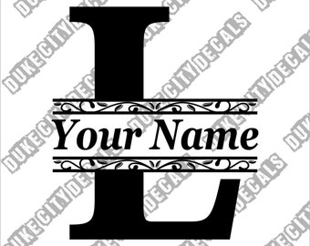Letter L Initial Monogram Family Name Vinyl Decal Sticker - Personalized Floral Name Decal