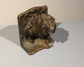 c1915 Bradley & Hubbard Cast Iron 3D Lion Bookend or Doorstop