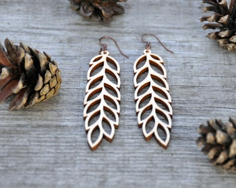 Leaf Laser Cut Wood Earrings