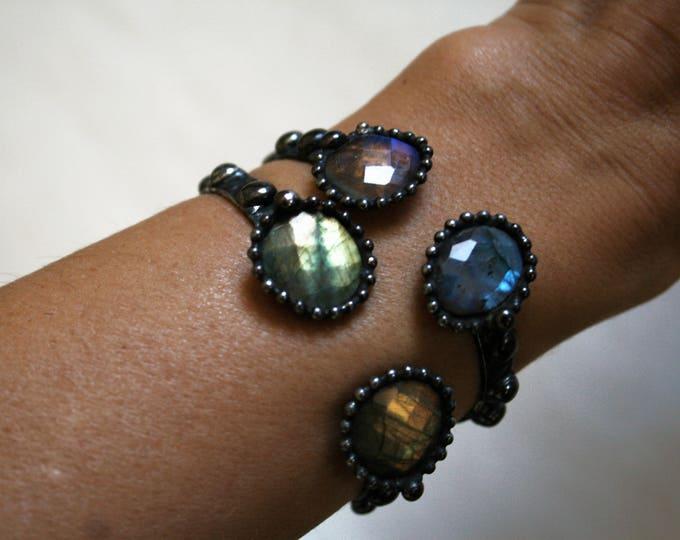 Rainbow Labradorite Cuff Bracelet