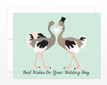 SALE! Ostrich Wedding Day Card - Cute Congratulations Greeting Card, Happy Couple Card, Congrats Card, Friend Card, Funny Wedding