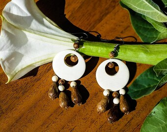 Wooden Earrings, Ethnic Earrings, Chandelier Earrings for Women, Anniversary Gift
