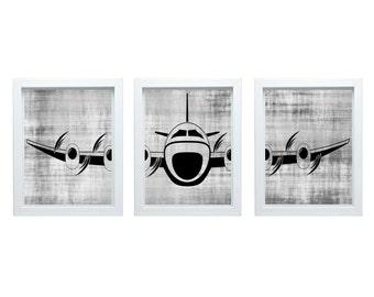 Airplane Wall Art Aviation Art Airplane Art Living Room Art Aviation Print Living Room Decor Airplane Nursery Home Decor  3 - 11x14 Prints