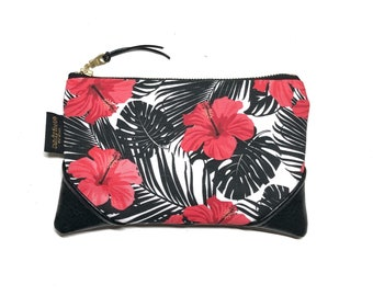 Mini Hibiscus & Monstera Zipper Pouch / Mini Clutch with inside lining and Zipper Pull or Leather Wristlet Strap