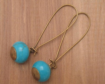 Turquoise with Antique Brass Handmade Earrings, Turquoise Bead on Elongated Kidney Earwires