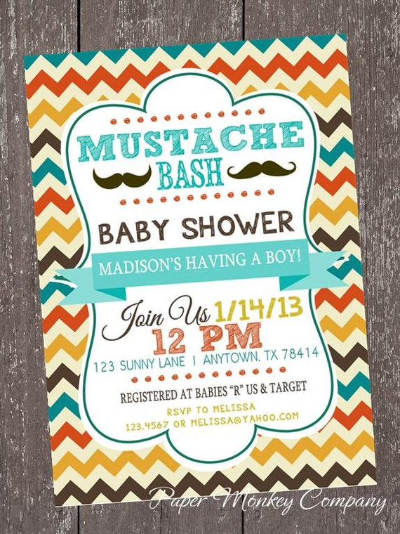 Chevron mustache bash baby shower invitations 100 each with like this item filmwisefo Image collections