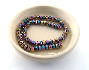 Beads Blue, Turquoise, Purple AB Chinese Crystal Rondelles 6mm