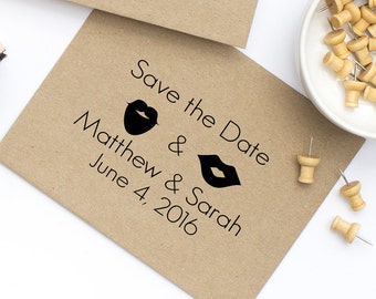 Custom Save the Date Stamp, Save the date, Beards, Lips, and Mustaches, Wedding invites, Wedding Stamp, Wedding Favor,  , Style No. 70W